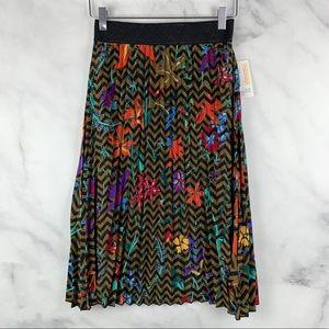 NWT LuLaRoe Floral Pleated Hi-Rise Midi Skirt Boho